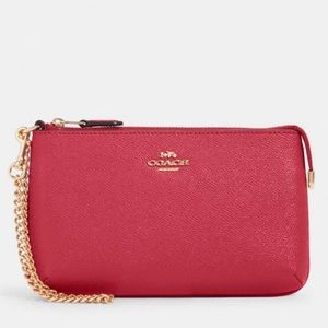 COACH Leather Wristlet with Chain